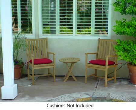 SET-51 3-Piece Patio Set with 2 Wilshire Dining Armchairs and Bahama Mini Side Round Folding