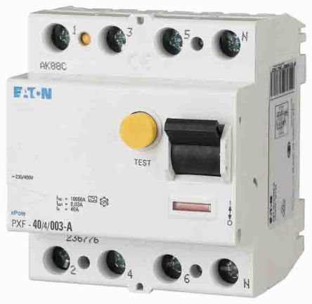 Eaton 3 + N 40 A RCD Switch, Trip Sensitivity 300mA
