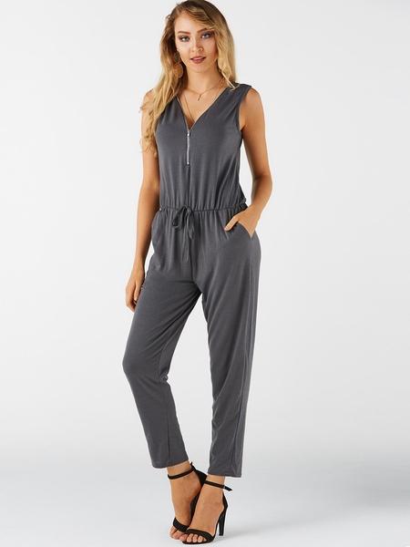 Yoins Grey Zip Design V-neck Sleeveless Casual Jumpsuit