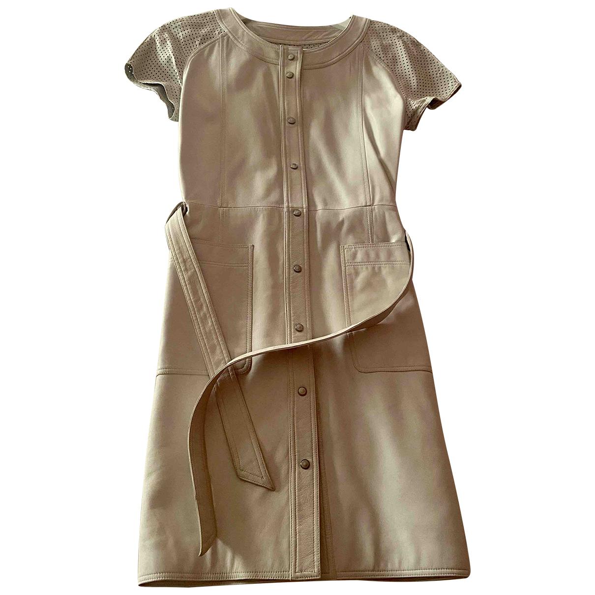 Mugler \N Kleid in  Grau Leder