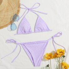 Ditsy Floral Halter Tie Side Bikini Swimsuit