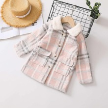 Toddler Girls Plaid Button Through Overcoat With Borg Collar