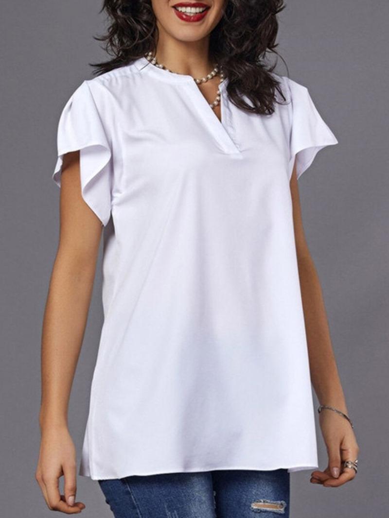 Ericdress Ruffle Sleeve Plain Loose T-Shirt