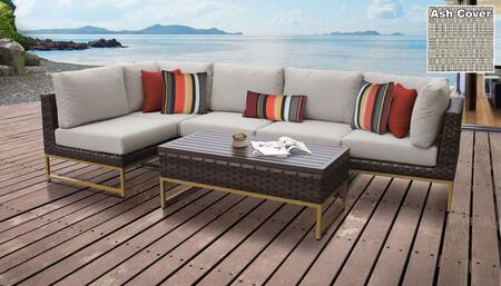 Barcelona Collection BARCELONA-06q-GLD-ASH 6-Piece Patio Set 06q with 2 Corner Chair   3 Armless Chair   1 Coffee Table - Beige and Ash