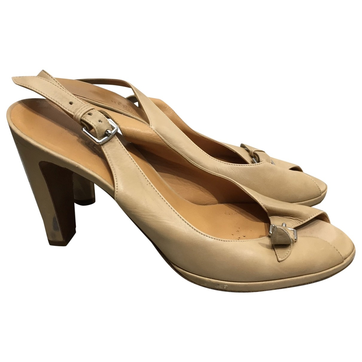 Hermes - Sandales   pour femme en cuir - beige