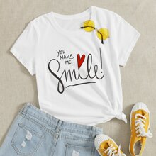 Slogan & Heart Print Tee