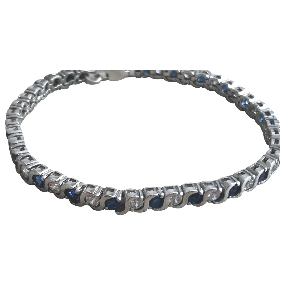 Non Signe / Unsigned Saphir Armband in  Bunt Silber
