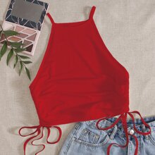 Drawstring Side Solid Cami Top