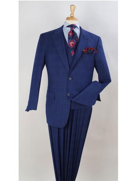 Leg pleated pants  Plaid ~ Window Pane Suit Space Blue