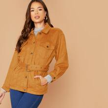 Double Pockets Button Front Faux Suede Jacket