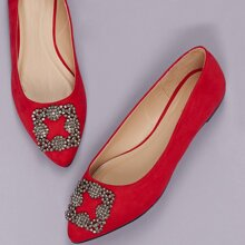 Diamante Buckle Pointed Toe Slip On Ballet Flats