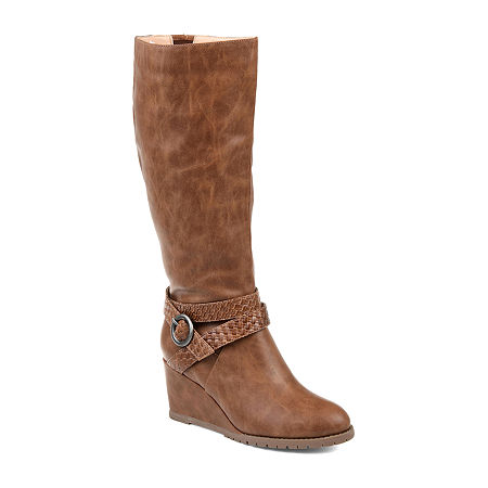Journee Collection Womens Garin Wide Calf Dress Zip Boots Wedge Heel, 8 1/2 Medium, Brown