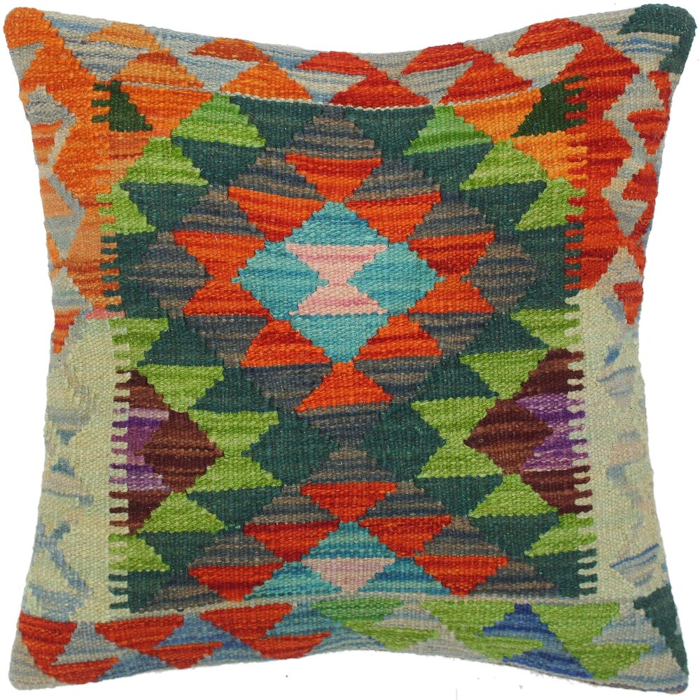 Rustic Usha Hand-Woven Turkish Kilim Pillow -18 in. x 18 in. (Polyester - 18 in. x 18 in. - Accent - Rust - Single)