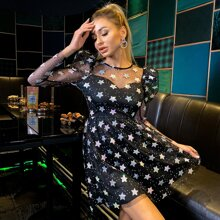 Double Crazy vestido con malla con estrella