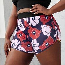 Sportliche Shorts mit Blumen Muster