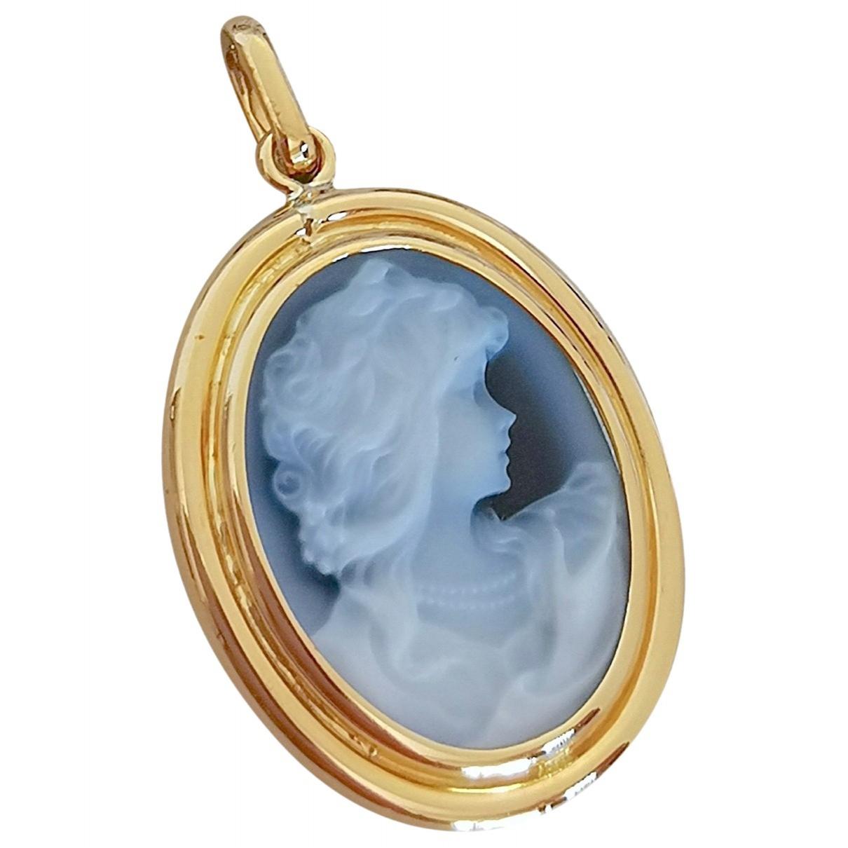 - Pendentif Camee pour femme en or jaune - bleu