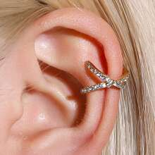 1pc Rhinestone Criss Cross Ear Cuff
