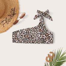 Leopard Print One Shoulder Bikini Top