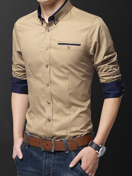 Milanoo Men Dress Shirt Plus Size Two Tone Button Down Slim Fit Long Sleeve Formal Shirt