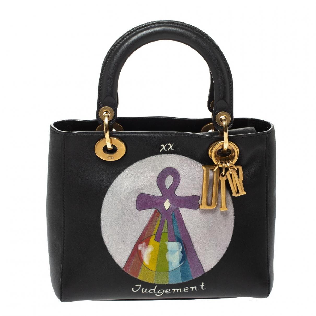 Dior Lady Dior Black Leather handbag for Women N