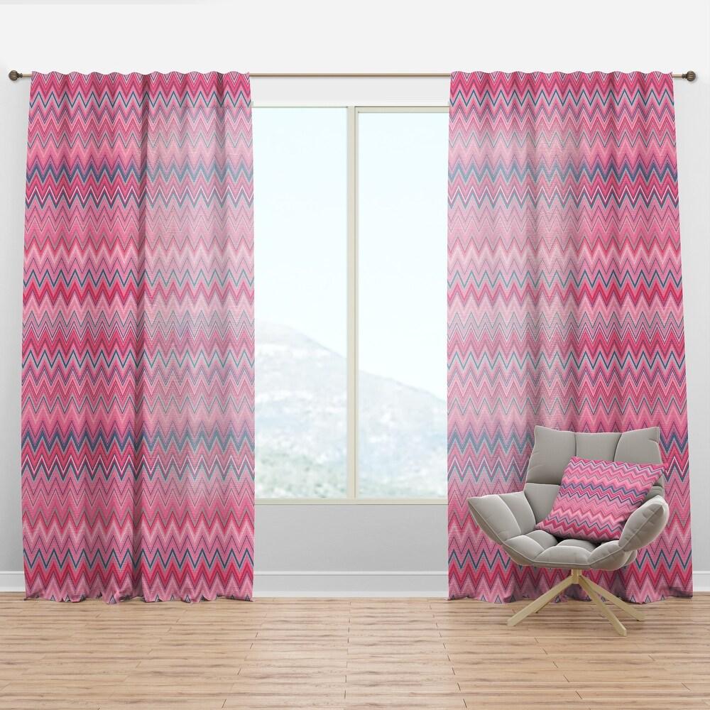 Designart 'Abstract Retro Geometric III' Mid-Century Modern Curtain Panel (50 in. wide x 63 in. high - 1 Panel)