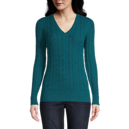St. John's Bay Cable Womens V Neck Long Sleeve Pullover Sweater, Petite Medium , Blue
