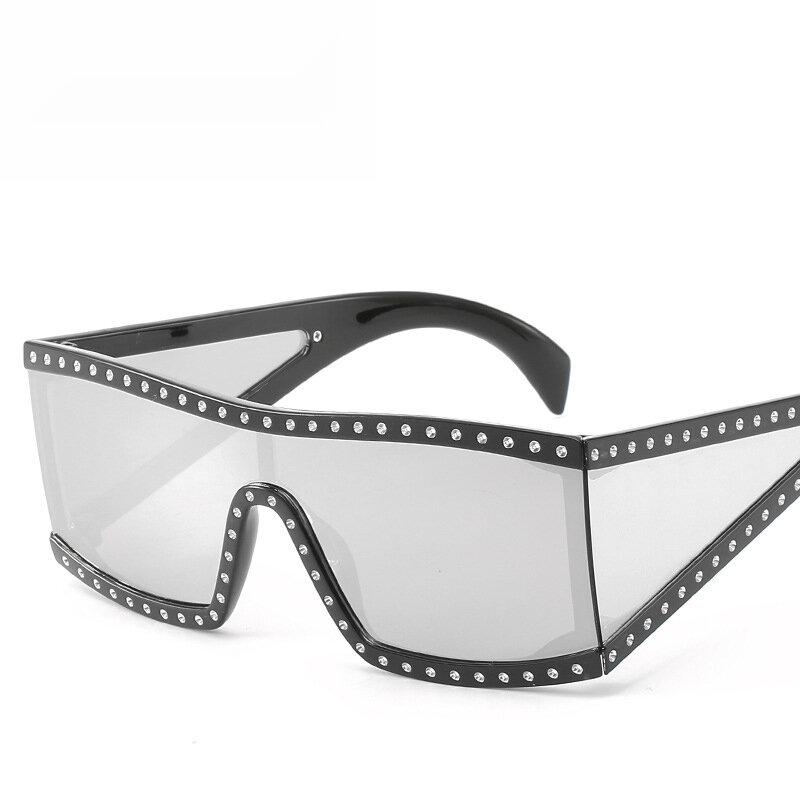 Women Square Sunglasses Siamese Windshield Sunglasses Fashion Diamond
