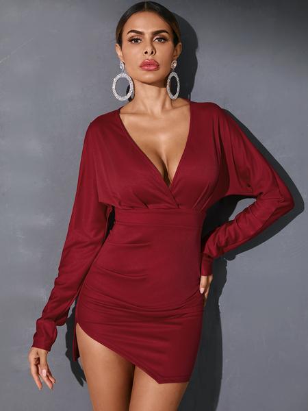 YOINS Christmas Sexy Ruched Slit Design Deep V-neck Long Sleeves Dress