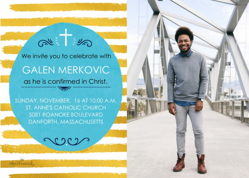 Confirmation 5x7 Cards, Premium Cardstock 120lb, Card & Stationery -Confirmation Gold Stripes