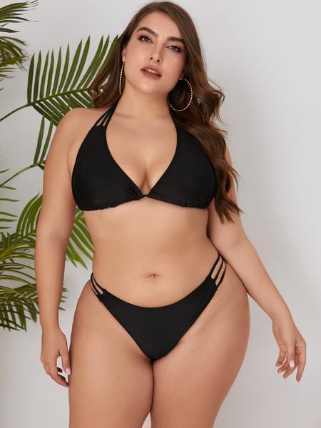 Yoins Plus Size Black Backless Design Halter Sleeveless Swimwear
