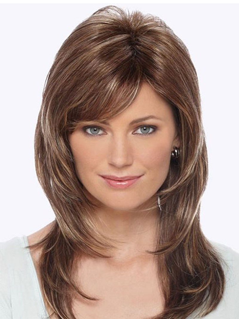 Ericdress Women's Medium Shaggy Layered Hairstyles Natural Straight Human Hair Wigs Lace Front Wigs 18Inch