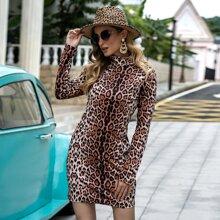 Mock Neck Zip Back Leopard Bodycon Dress