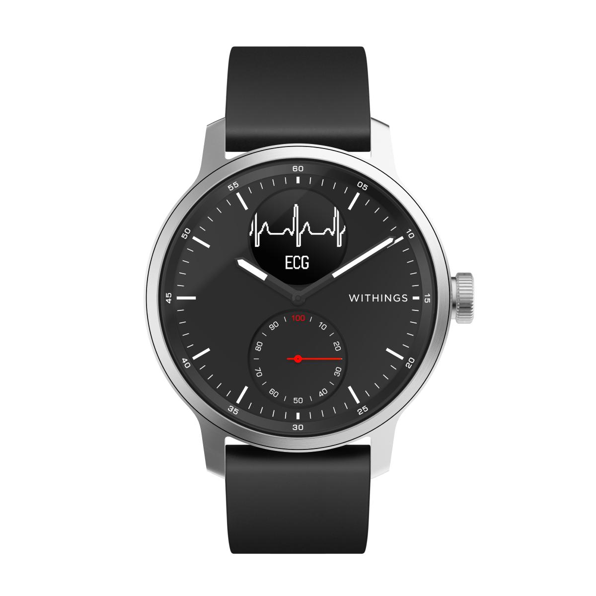 Withings ScanWatch, 42mm, Noir - Montre Connectee hybride avec ECG, capteur de frequence cardiaque et oxymetre de pouls (SPO2)