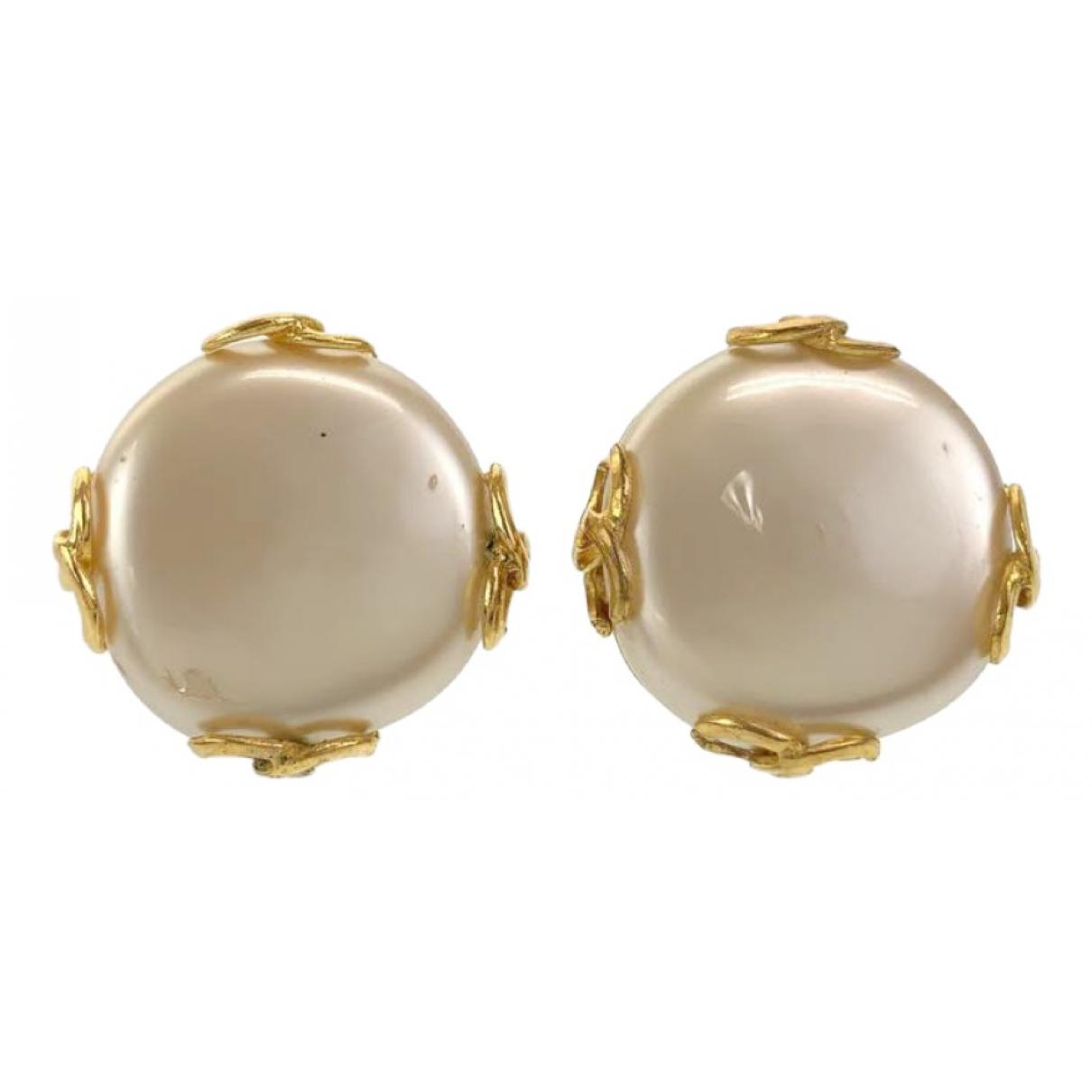 Chanel CC White Metal Earrings for Women N