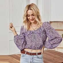 Crop Bluse mit Paisley Muster und Rueschen