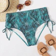 Bikini Hoschen mit Schlangenleder Muster und hoher Taille