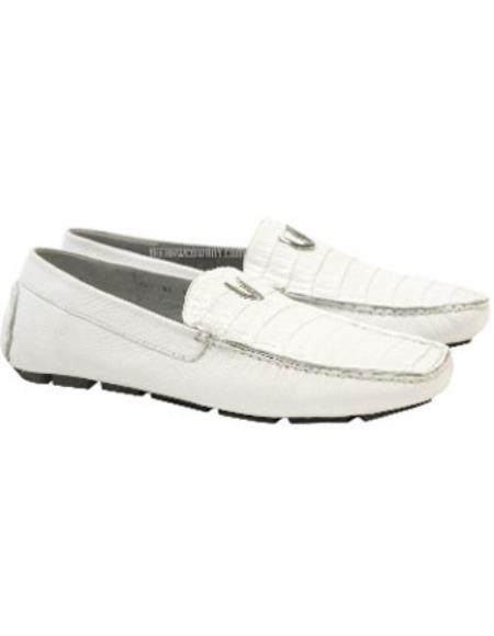Men's White Vestigium Genuine Caiman Belly Loafers