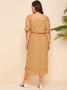 Plus Surplice Neck Ruched Asymmetrical Hem Ditsy Floral Dress