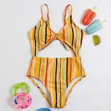 Girls Striped Cut-out Knot Front One Piece Swimsuit