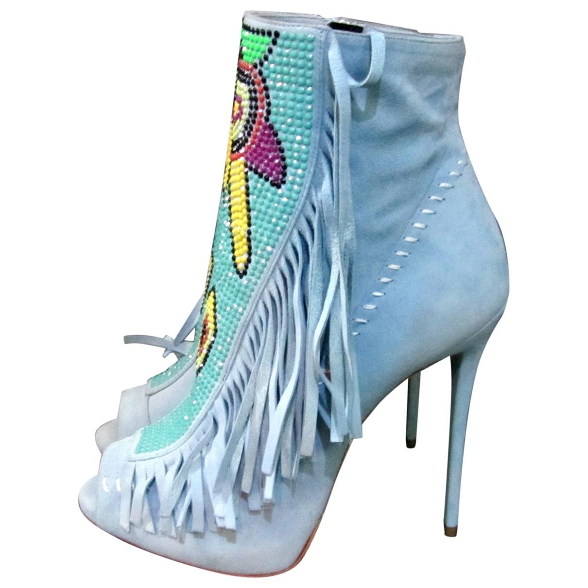 Giuseppe Zanotti - Boots   pour femme en suede - bleu