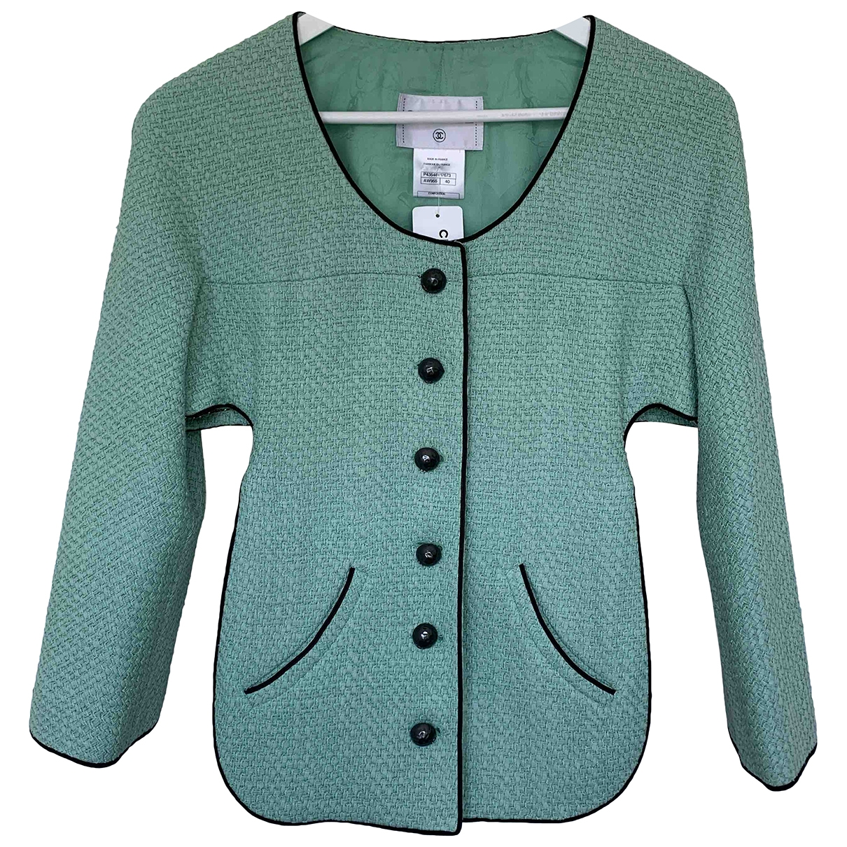 Chanel \N Jacke in  Tuerkis Tweed