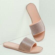 Square Open Toe Diamante Band Jelly Sandals