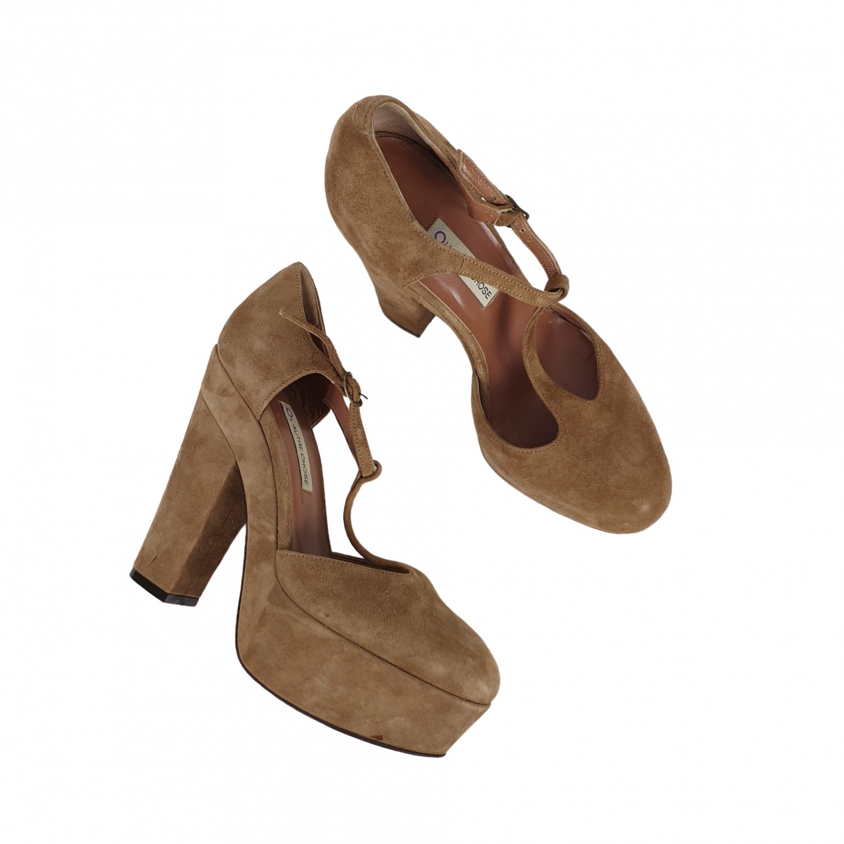 Non Signé / Unsigned \N Camel Suede Heels for Women 37 EU