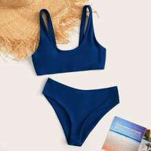 Schlichter Bikini-Badeanzug mit U-Ausschnitt