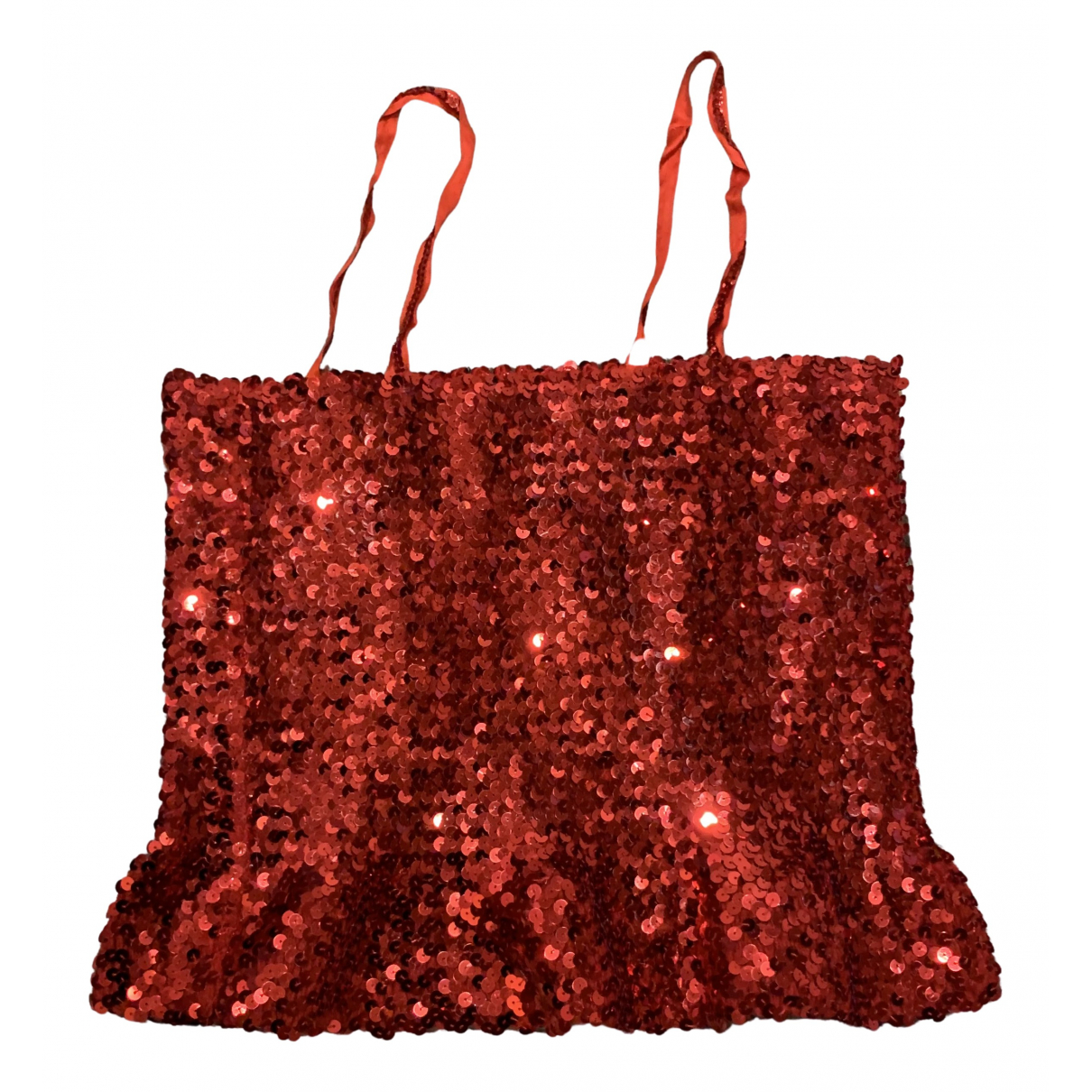 Non Signé / Unsigned N Red Glitter  top for Women One Size IT