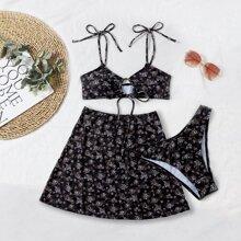 3 Paecke Bikini Badeanzug mit Bluemchen Muster und Band vorn