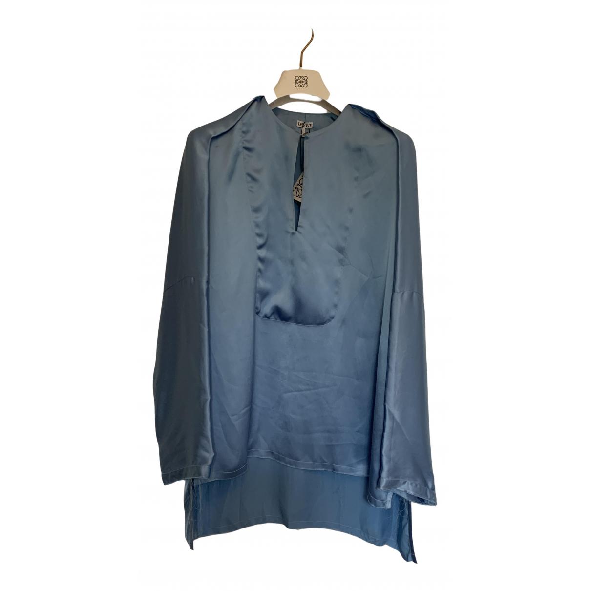 Loewe - Top   pour femme en soie - bleu