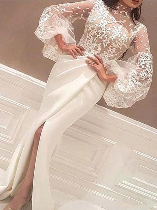 Robe de mariee sirene col haut en dentelle robe de soiree en satin a manches longues