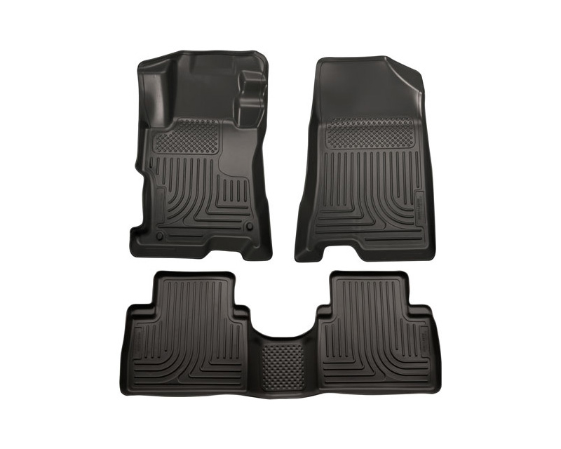 Husky Floor Liners Front & 2nd Row 11-13 Kia Sportage (Footwell Coverage) WeatherBeater-Black