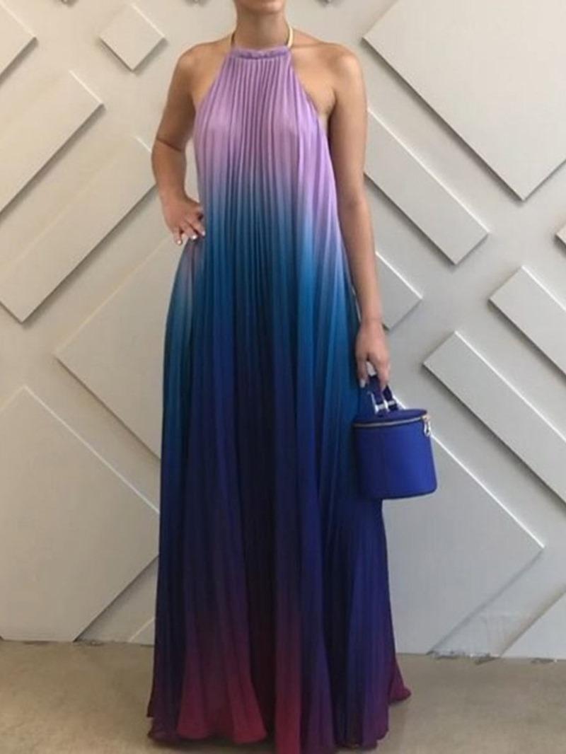 Ericdress Sleeveless Floor-Length Backless A-Line Gradient Dress